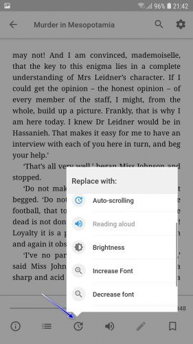 Редактирование набора инструментов окна чтения книги